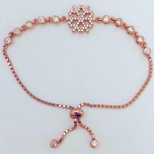 ❄️ Snowflake slider bolo cz bracelet 925 silver